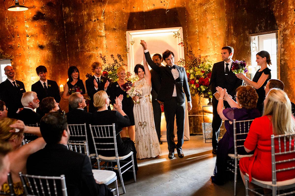 Bride and groom celebrate at Charleston wedding ceremony
