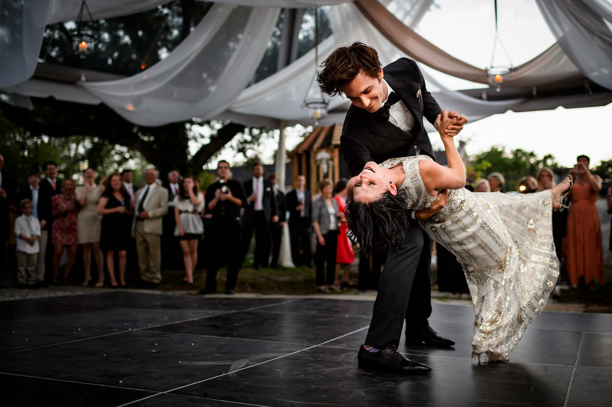 Bride and groom first dance at Charleston wedding