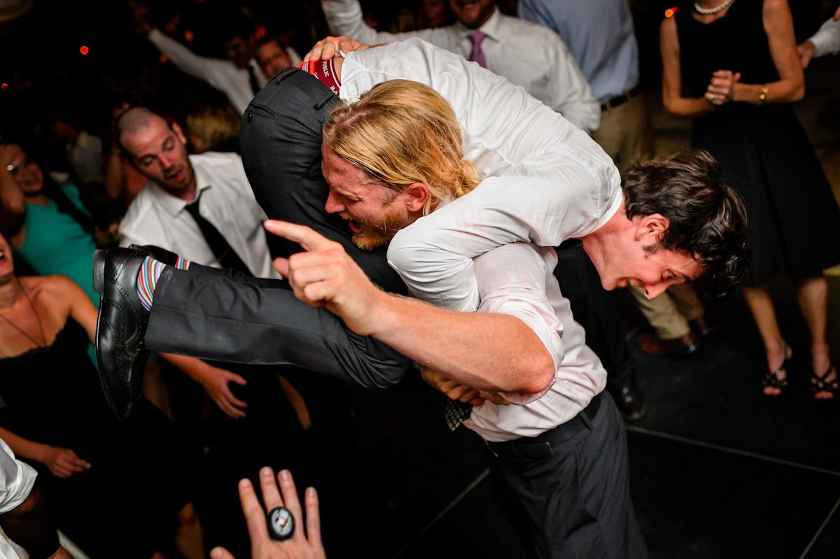 Crazy dancing at Charleston wedding