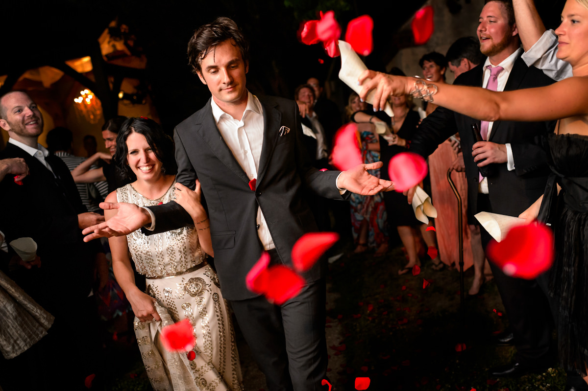 Bride and groom exit Charleston wedding