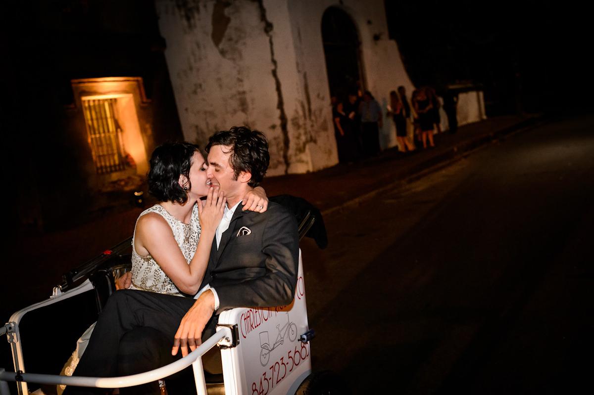 Bride and groom exit their Charleston wedding