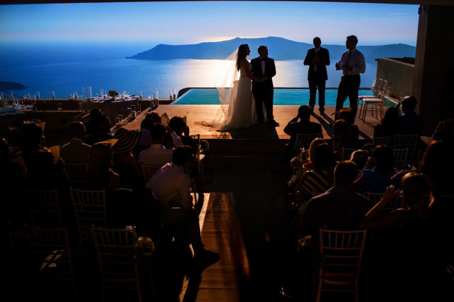 Melissa & Cameron Moore's wdding in Santorini, Greece.