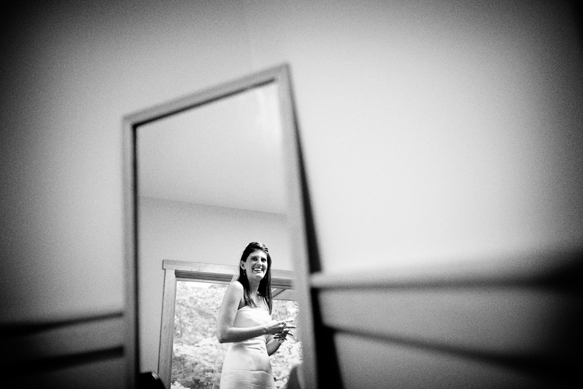 Mirror reflection of bride in North Carolina wedding