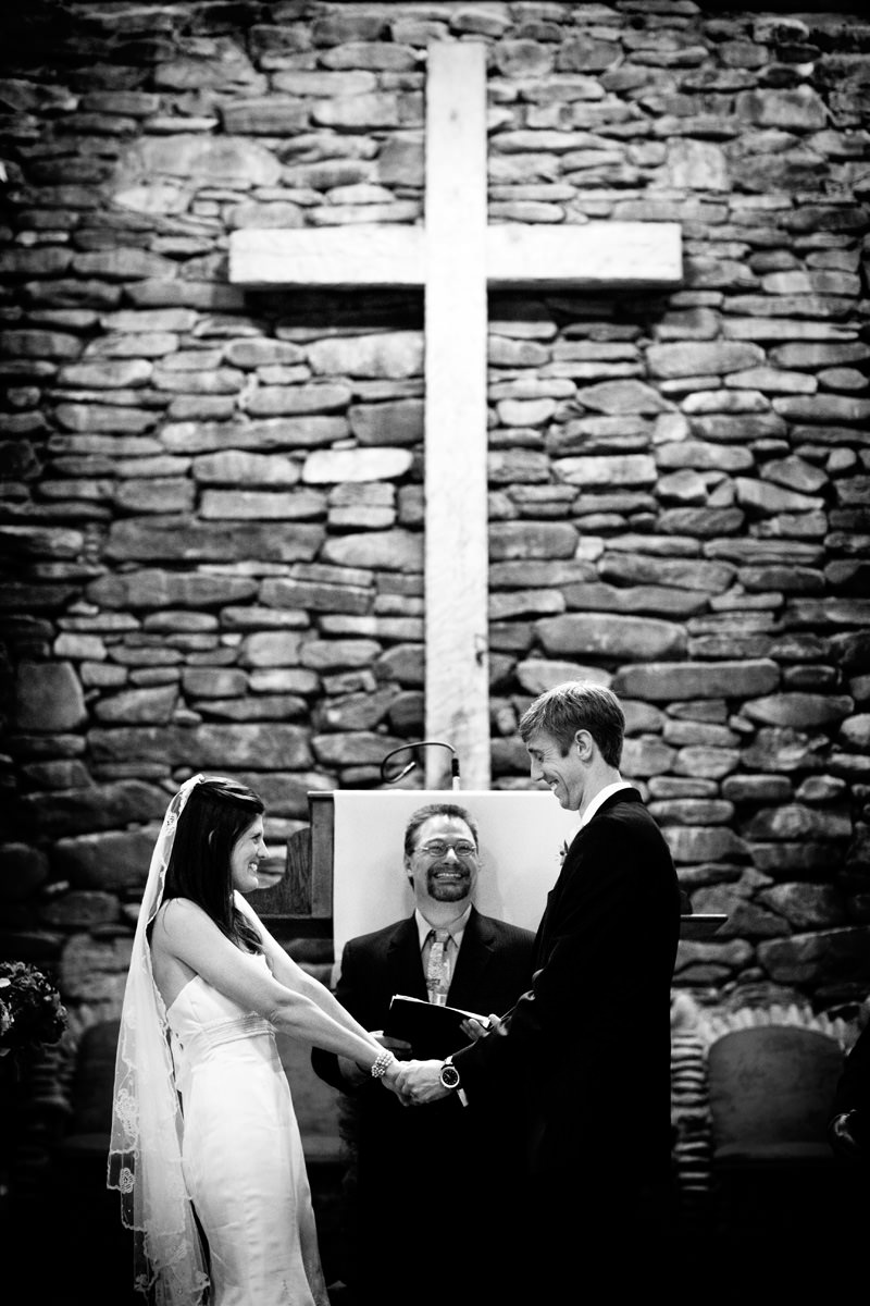 Portrait of bride and bridegroom during wedding ceremony in Linville