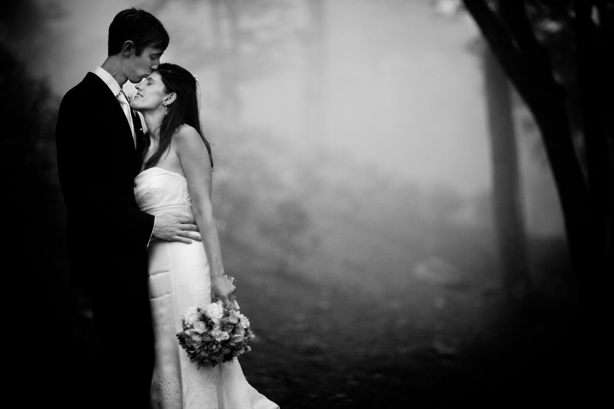 Intimate portrait of bride and bridegroom in a misty forest in North Carolina wedding