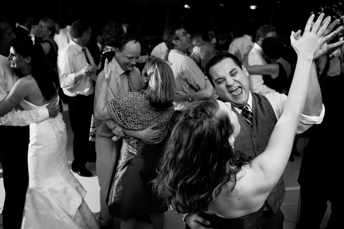 Wedding guests on the dancefloor at North Carolina wedding