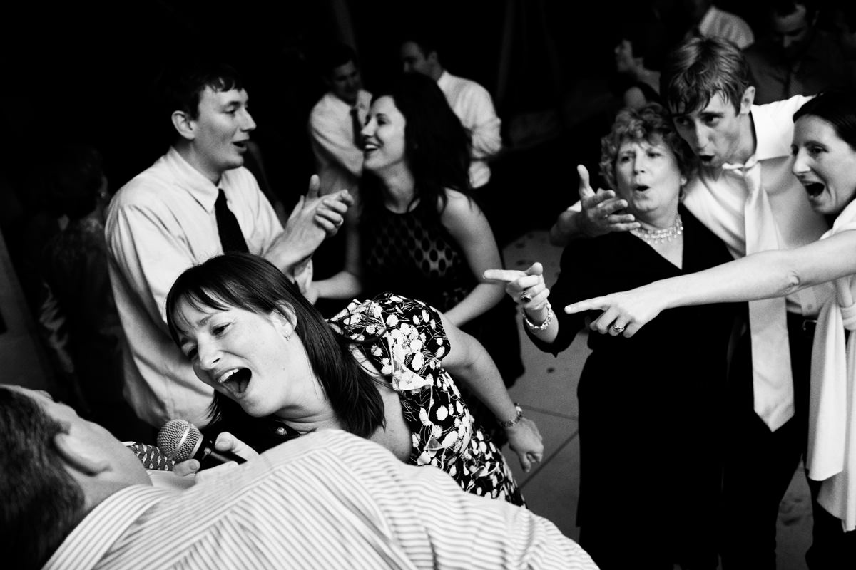 Wedding guests have fun on the dancefloor