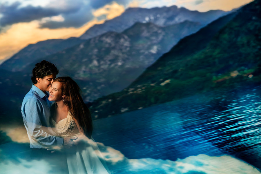 Bride groom portrait Lake Como