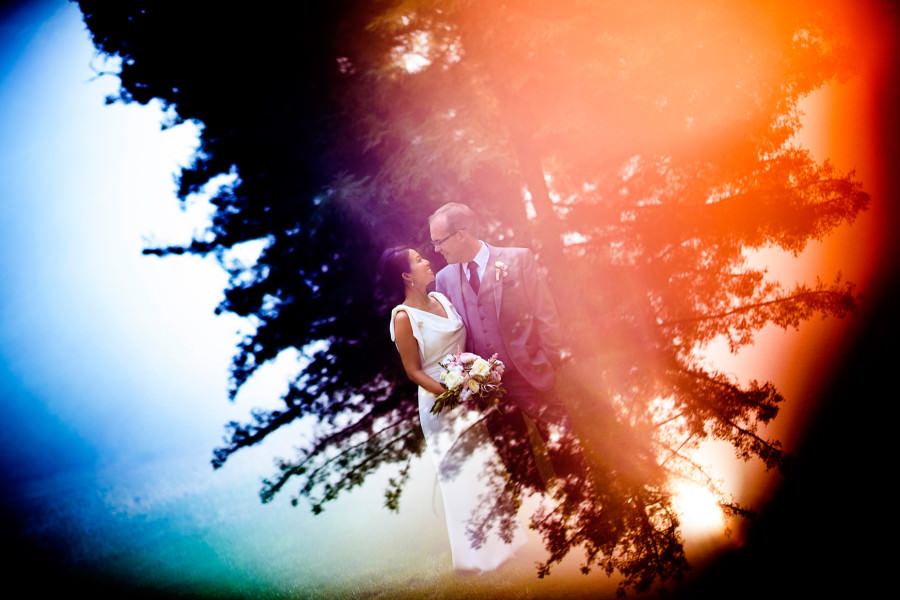 Colorful flare light at wedding