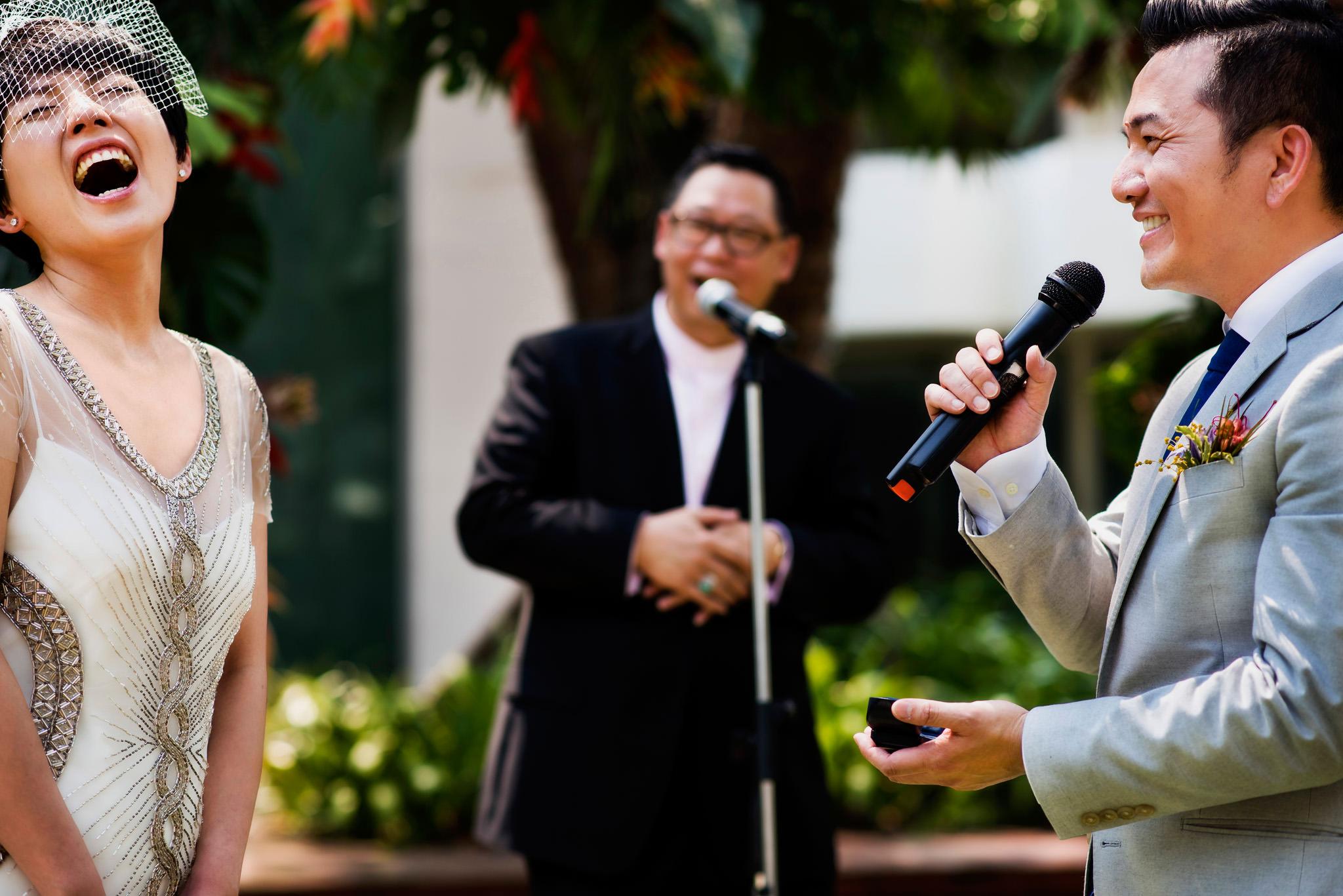 Bride laughs at Sukhothai wedding