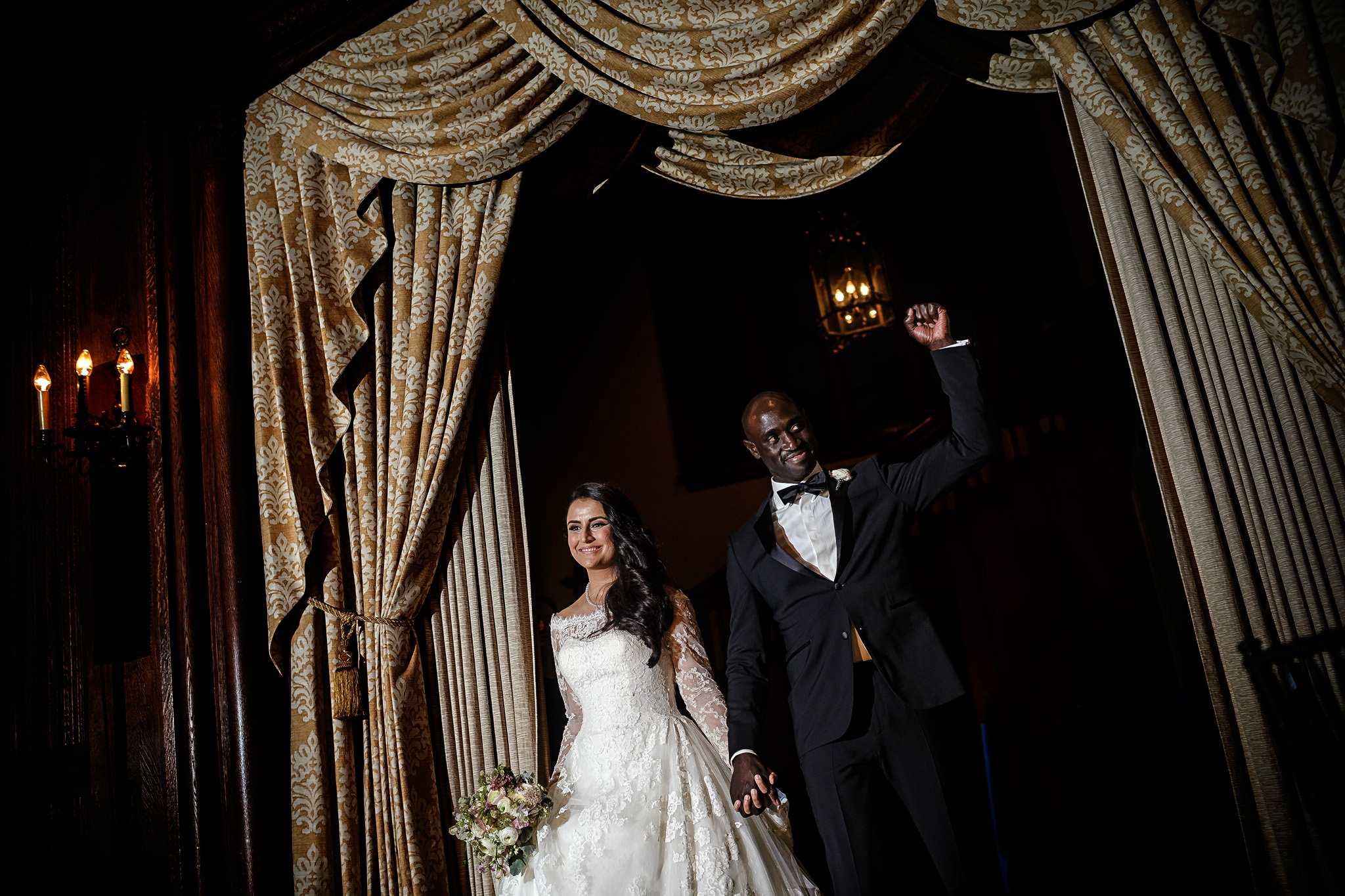 Bride and bridegroom arrive at wedding reception California