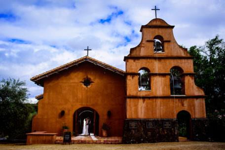 Portrait of bride and bridegroom at church in Healdsburg, California