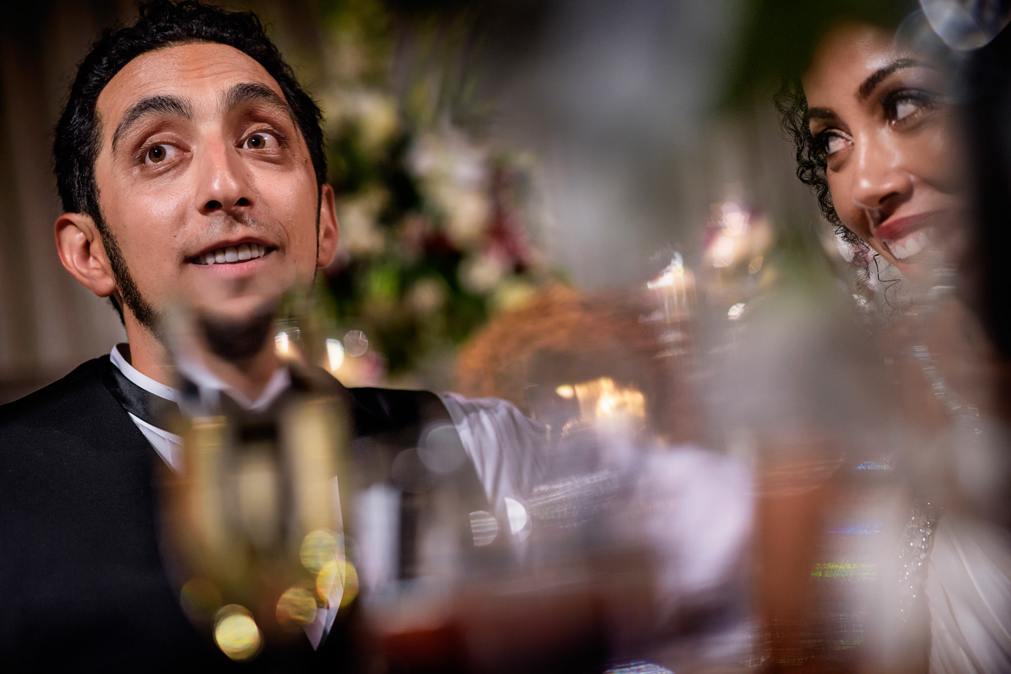 Portrait of bride and bridegroom during their wedding reception