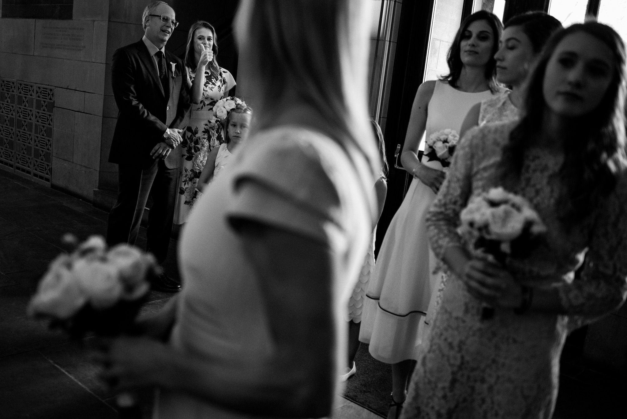 Bride gets ready to walk down the aisle at James Burden Mansion in New York