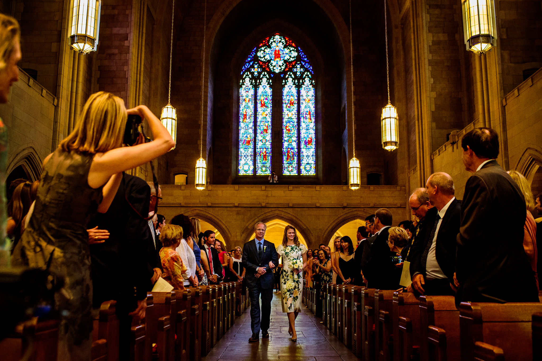 Father of the bride walks bride down the aisle in New York