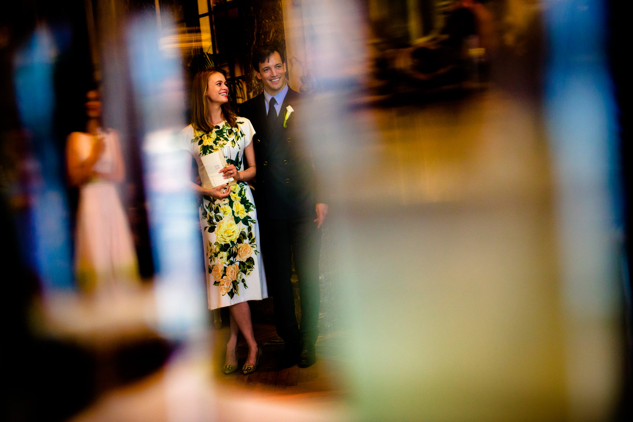 Portrait of bride and groom at wedding reception in New York