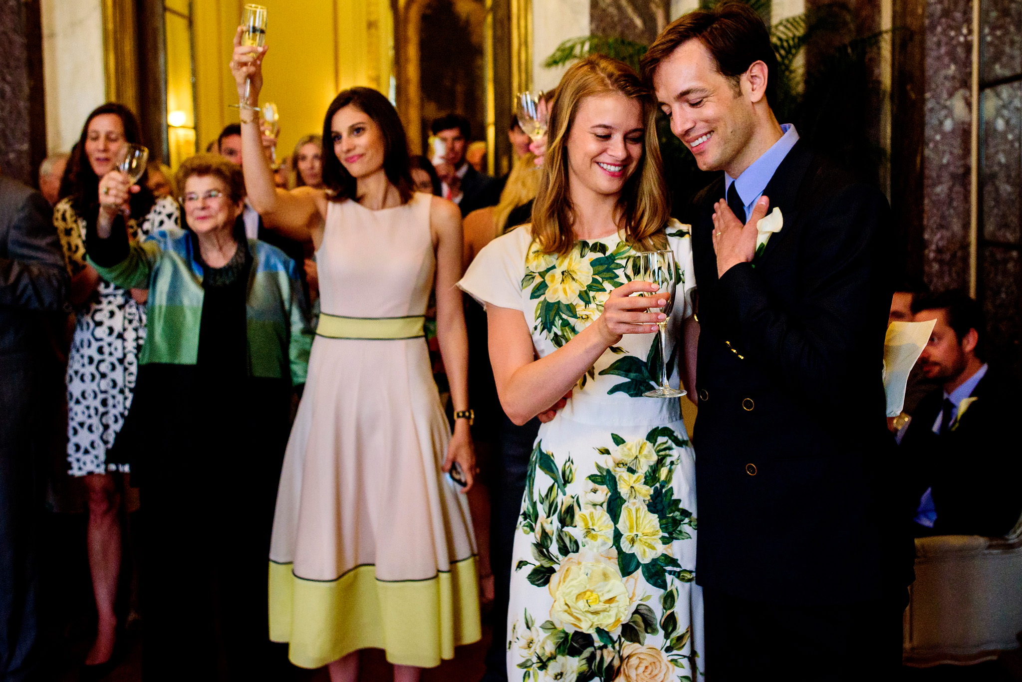 A toast to the bridal couple at James Burden Mansion in New York