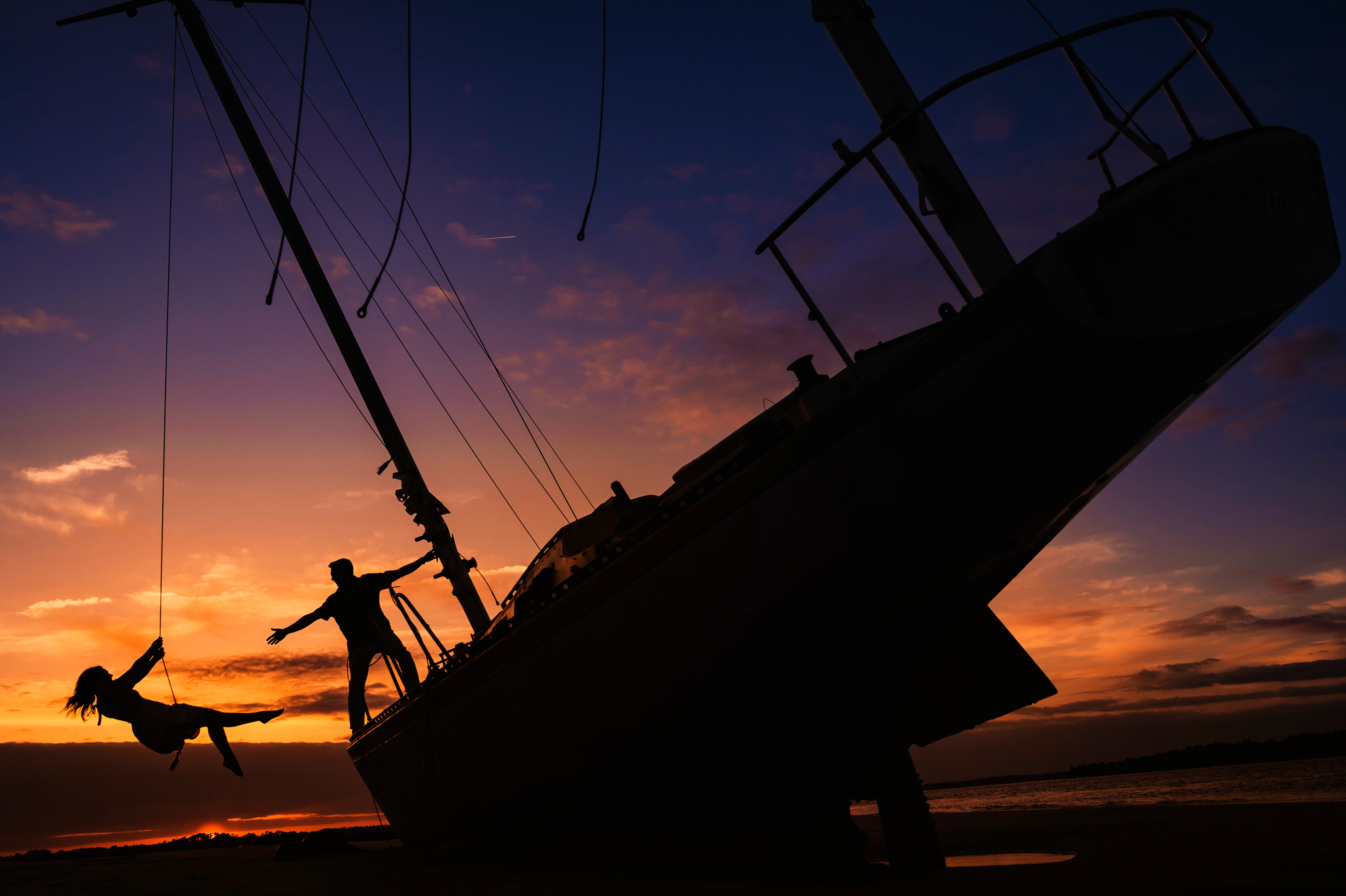 Sandy Point sailboat engagement photos